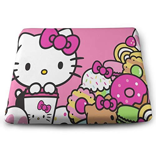 Chair Pads- Non Slip Square Chair Cushion Comfort Memory Foam Hello Kitty Cafe Thicken Seat Cushion Pillow