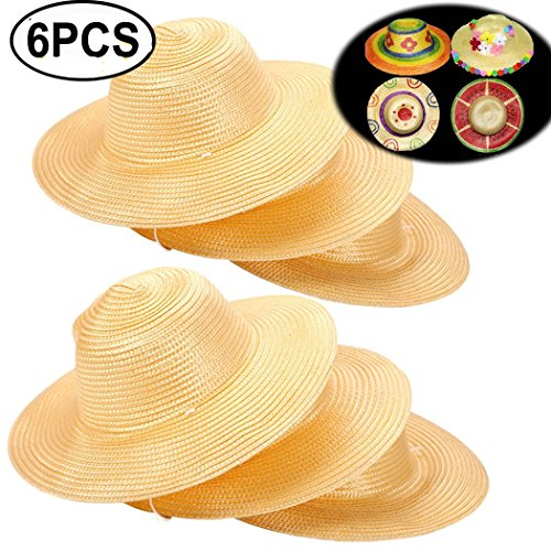 Straw Hat, Coxeer 6PCS Straw Hat Cap Beach Sun Hat Creative Art Painting Straw Hat for Kids Adults Birthday Party Hats Childrens DIY Straw Summer Hats by Coxeer (Image #7)