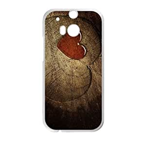 HTC One M8 Cell Phone Case White Heart on Wood M2373359