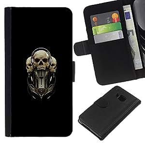 KLONGSHOP // Tirón de la caja Cartera de cuero con ranuras para tarjetas - Tri Cráneo - HTC One M7 //