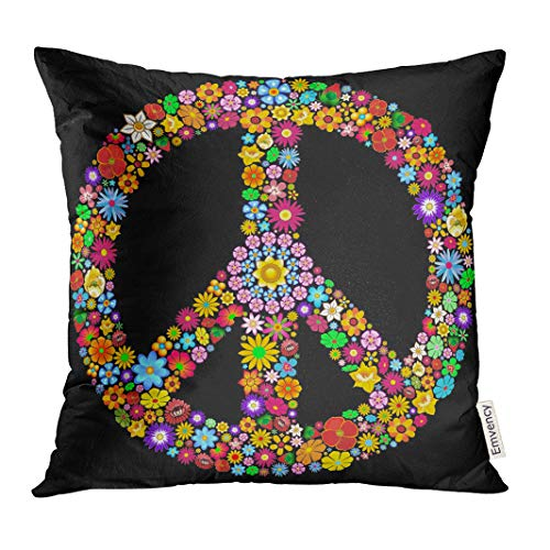 Golee Throw Pillow Cover Spring Colorful Sign Peace Symbol Groovy Flowers Design Woodstock Psychedelic Colors Computer Decorative Pillow Case Home Decor Square 18x18 Inches Pillowcase