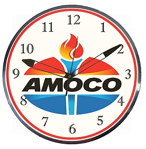 "Checkingtime LLC - 15"" Amoco Colored LED Lighted Pam Advertising Clock, Metal Shell, Real Glass"