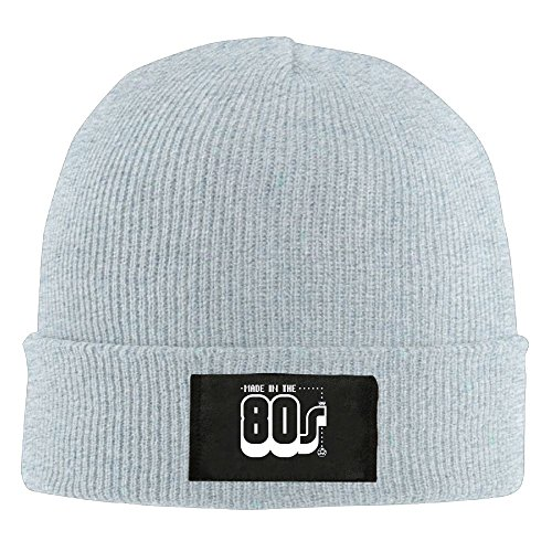 Made In The 80s - Retro Vintage Style Joke Beanie Hat For Men and Women Winter Warm Hats Knit Slouchy Thick Skull Cap Ash