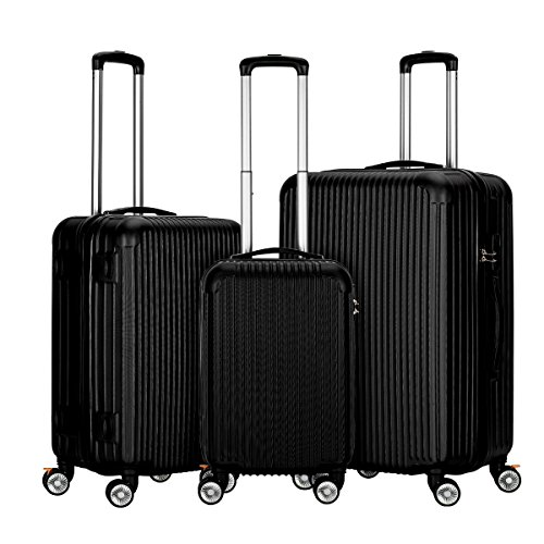 Black Suitcase - InnerTeck 3 Piece Luggage Set Spinner Hardshell Lightweight Suitcase Set - Black