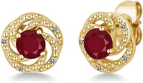 1.16 Ct Round Red Ruby White Diamond 18K Yellow Gold Plated Silver Flower Design Earrings