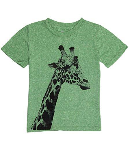 Peek-A-Zoo Youth Animal Super Soft Tee Shirts - Short Sleeve Triblend - Giraffe Green 6 ()