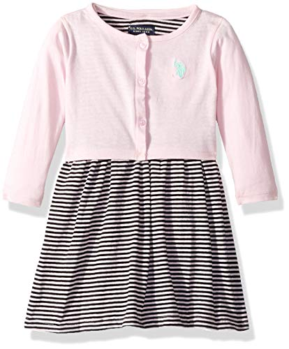 U.S. Polo Assn. Girls' Toddler Dress with Sweater or Jacket, Striped Flutter Sleeve Baby Pink, 2T - Flutter Sleeve Sweater