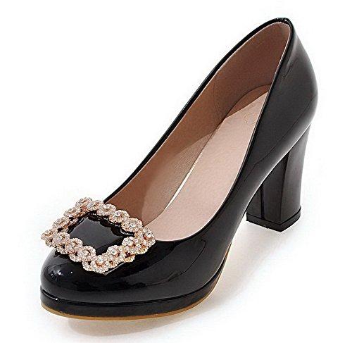 AllhqFashion Damen Rund Zehe Ziehen auf Lackleder Rein Hoher Absatz Pumps Schuhe Schwarz