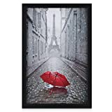 One Wall 11x17 Black Picture Frame Tempered Glass, Wood Photo Poster Frame, Wall Mounting Material Included