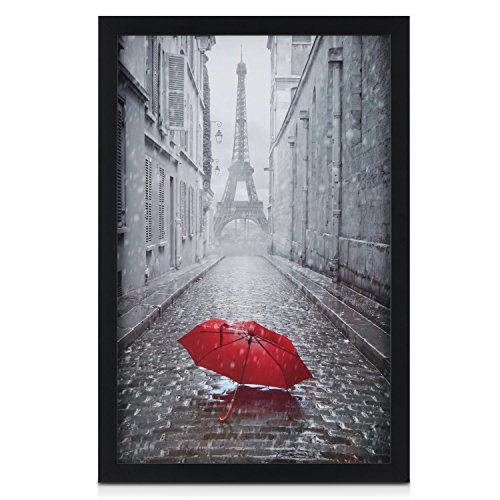 ONE WALL Tempered Glass 11x17 Black Picture Frame, Wood Photo Poster Frame - Wall Mounting Hardware ()