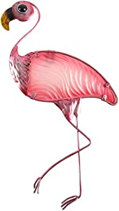 Liffy Metal Flamingo Wall Decor Outdoor Hanging Art Glass Garden Decorations for Bathroom