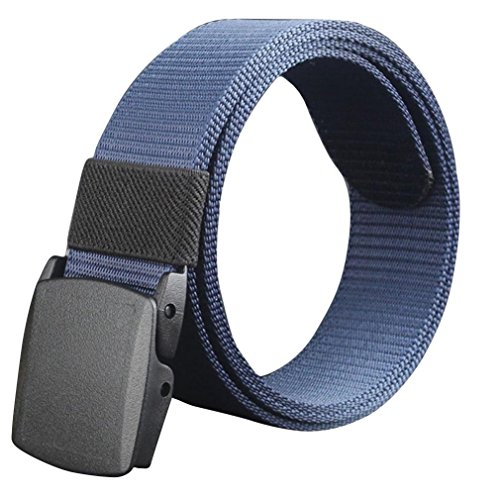 AMA(TM)Mens Canvas Military-Style Web Belt Woven Belt with Flip-Top Automatic Buckle (Blue - Web Accessories Belts Clothing
