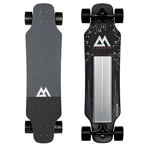 Magneto Revolution Electric Skateboard - Premium, High Performance Electric Skateboard - 20MPH | 12 Mile Range | 15% Grades - Assembled in the USA - Carbon Fiber & Maple Deck - Wireless Remote