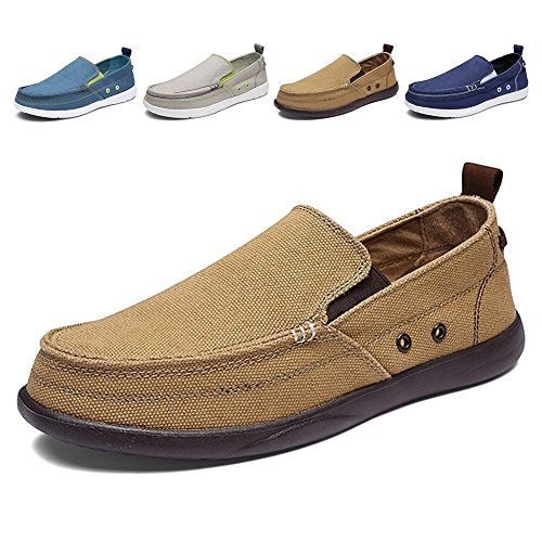 Men's Slip on Deck Shoes Loafers Canvas Boat Shoe Non Slip Casual Loafer Flat Outdoor Sneakers Walking (khaqi,44)