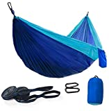 """COLOR: Sky blue/Blue  SIZE: Double  What's inside the carrying bag?  ✔ 1 double camping hammock 118"""" (Length) x 78"""" (Wide) with 2 strong ropes ✔ 2 tree straps (each 118"""" (Length)), have 16 loops along it to adjust different size trees ✔ 2 ferric car..."""