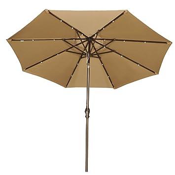 Abba Patio 9u0027 Patio Umbrella With Solar Powered 24 LED Lights Market Outdoor  Umbrella With