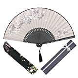 OMyTea Morning Glory Women Hand Held Silk Folding Fans with Bamboo Frame - With a Fabric Sleeve for Protection for Gifts - Chinese/Japanese Vintage Retro Style (Gray with Gift Box)