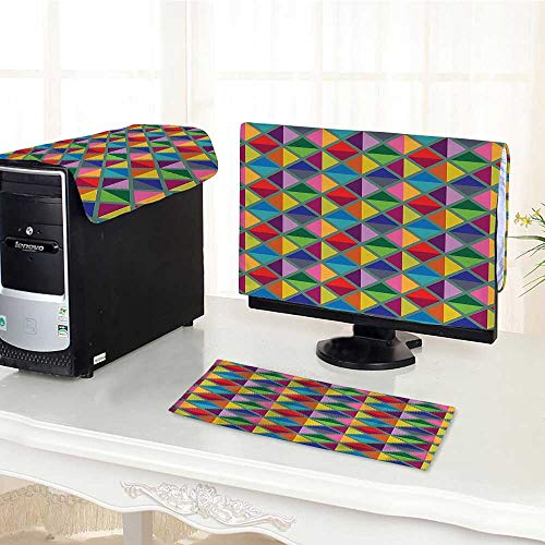 Argyle Triangle Top - Auraisehome Desktop Computer Cover 3 Pieces Argyle Pattern Vibrant Colors Triangles Rhombuses Decoration Artful Design Pink Red Scratch Resistance /26