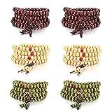 MOWOM 6PCS 8mm Wood Bracelet Link Wrist Necklace Chain Tibetan Buddhist Sandalwood Bead Prayer Buddha Mala Chinese Knot