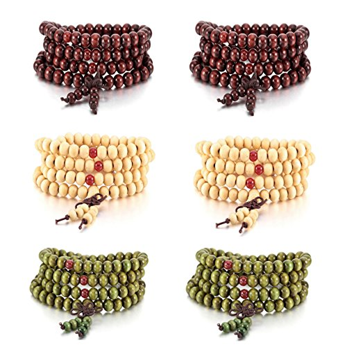 MOWOM 6PCS 8mm Wood Bracelet L