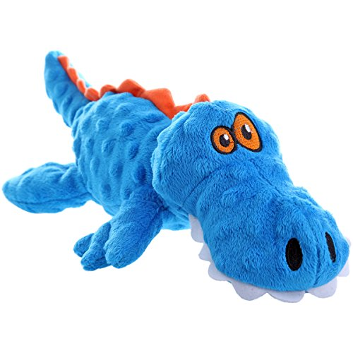 goDog Gators With Chew Guard Technology Tough Plush Dog Toy, Blue, Large Chew Small Animal Toy