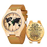 Engraved Watches for Son,Natural Custom Personalized Leather Strap Wooden Watch for Son from Dad(to My Son-You Will Never Lose)
