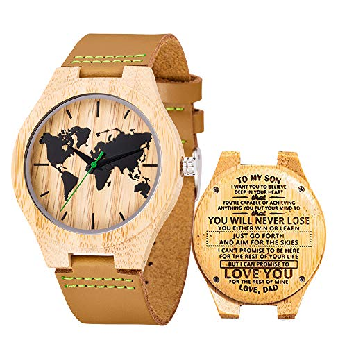 Engraved Watches for Men,Natural Personalized Custome Leather Strap Wooden Groomsmen Watch for Husband Son