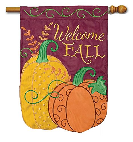 Pretty Pumpkin Applique House Flag - 28