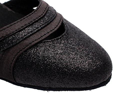 Sandals Samba Salsa Shoes Toe 5 Latin heeled6cm Sequins Shoes EU40 UK6 Women's Tea Modern Dance High Our41 Jazz Black Heels Tango JSHOE Round SFwxv60qS