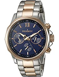 Peugeot Mens 1046TBL Stainless Steel Two-Tone Rose Gold Multi-Function Calendar Two-Tone Watch