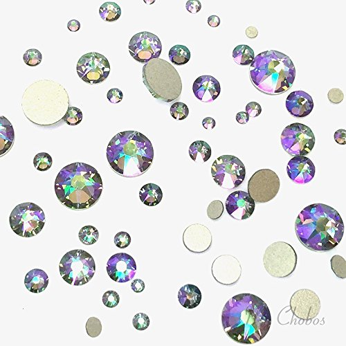 SWAROVSKI CRYSTAL PARADISE SHINE (001 PARSH) 144 pcs 2058/2088 Crystal Flatbacks rhinestones nail art mixed with Sizes ss5, ss7, ss9, ss12, ss16, ss20, ss30 (Green Swarovski Glass)