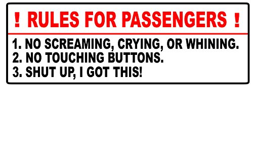 Rules For Passengers Decal Car Sticker Funny JDM Stance Euro 4x4 Truck Mud (Mud Decal)