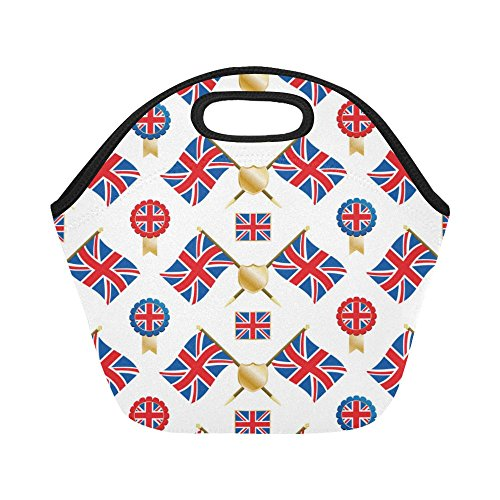 InterestPrint Insulated Lunch Tote Bag the Union Flag and Emblems Reusable Neoprene Cooler, Great Britain Portable Lunchbox Handbag for Men Women Adult Kids Boys Girls -