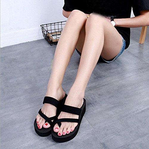 HLHN Women Slipper,Sandals Flat Open Toe Shoes Flip Flops Casual Beach Summer Black (Heel Height:5.5cm_ Sole :rubber)