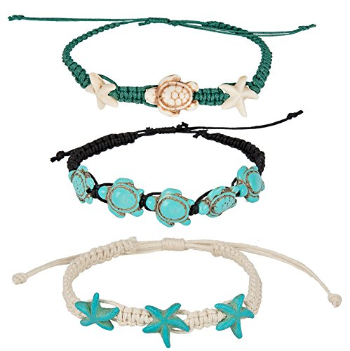 Turtle Starfish Howlite Bracelet or Anklet Set | SPUNKYsoul Beach Collection (Turtle Starfish 3 ()