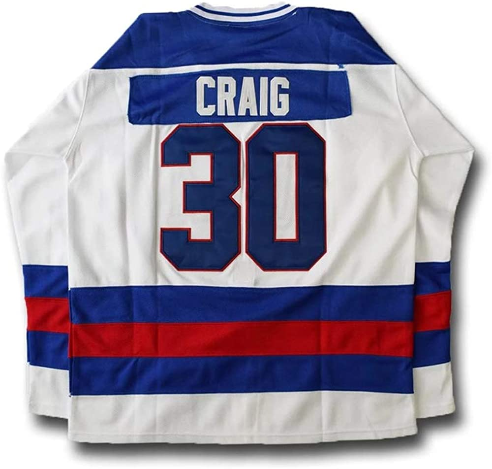 QIMEI Jim Craig #30 Miracle on Ice Hockey Jersey for Men Women Youth S-5XL