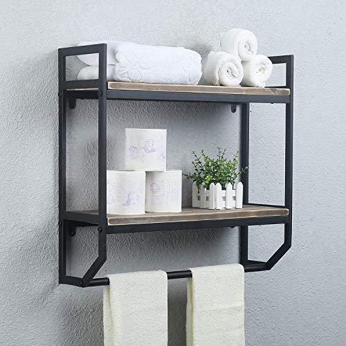 "2-Tier Metal Industrial 23.6"" Bathroom Shelves Wall Mounted,Rustic Wall Shelf Over Toilet,Towel Rack with Towel Bar,Utility Storage Shelf Rack, Floating Shelves Towel Holder,Black Brush Silver"