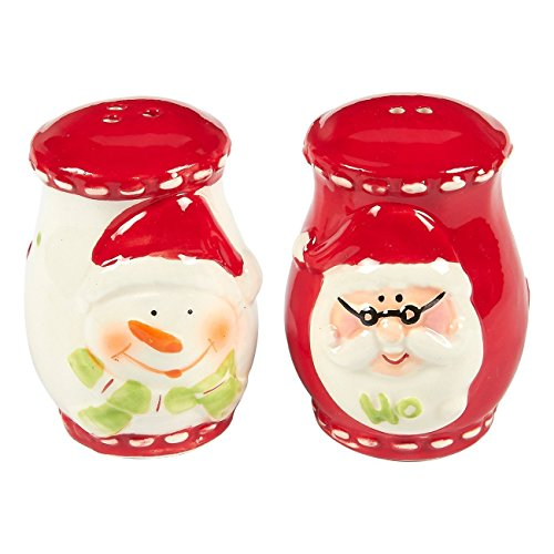 2-Pack of Salt Pepper Shakers - Cute Salt Pepper Shakers, Santa Claus and Snowman-Themed Ceramic Christmas Decorfor Festive Decoration, Xmas Kitchenware, Red - 2 x 2.8 x 2 Inches ()