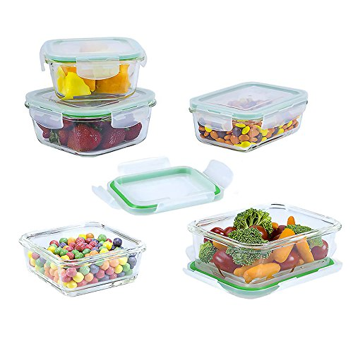 10 Piece Square Glass Food Storage Container Set (Specially Made for Microwave, Oven, Fridge, Freezer, and Dishwasher) (Containers Storage Refrigerator)