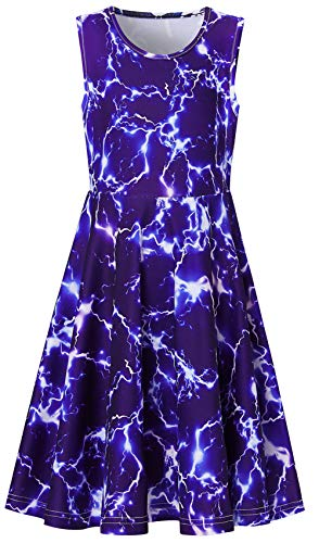 Nice Graphics - RAISEVERN Girls Sleeveless Dress 3D Print Cute Lightning Pattern Blue Summer Dress Casual Swing Theme Birthday Party Sundress Toddler Kids Twirly Skirt