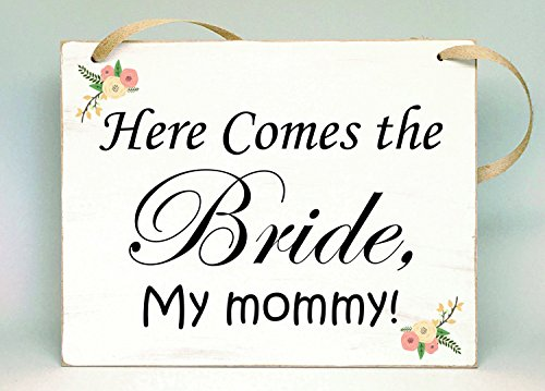 Rustic Wedding Sign, Here comes the Bride, My Mommy Flower girl or Ring bearer (Here Comes The Bride Burlap Sign)