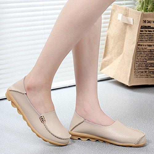 Yixinan Mode Flats Leren Casual Veterschoenen Voor De Vrouw Beige2