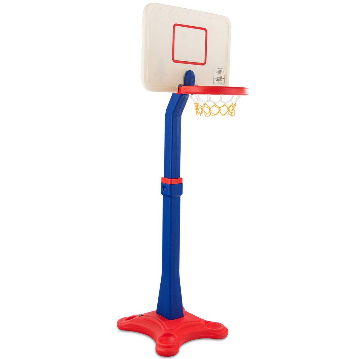 costzonキッズバスケットボールスタンド、バスケットボールフープと調節可能な高さ、キッズPlayおもちゃ、ポータブルデザインforインドアアウトドア Height Adjusts from 63''- 85'' FWAM-01591 B07FNLC61P  Height Adjusts from 63''- 85''