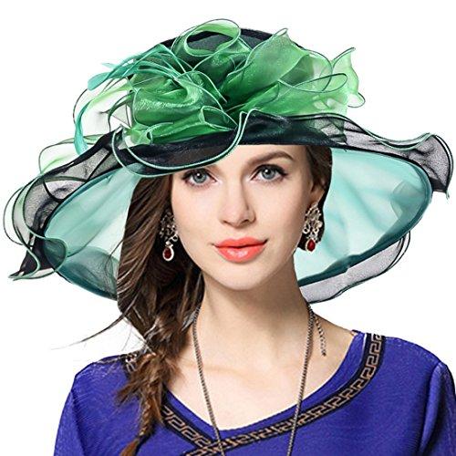 Women Church Derby Hat Wide Brim Wedding Dress Hat Tea Party HAT S019 (Two-tone-Green)