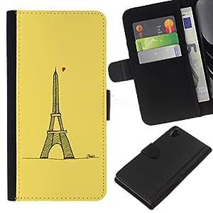 SONY Xperia Z2 / D6502 / L50 Modelo colorido cuero carpeta tirón caso cubierta piel Holster Funda protección - Tour D' Heart Tower Yellow Paris