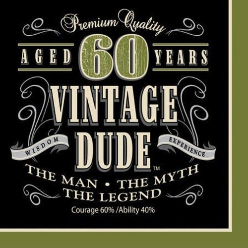 Creative Converting Vintage Dude 60th Birthday Lunch Napkins (Party Pack: 48 Count)
