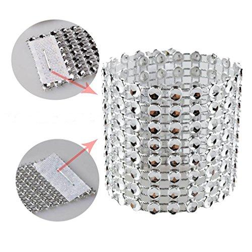 SKY CANDYBAR 100 Pcs Rhinestone Napkin Rings Diamond Silver (Rings Napkins For)