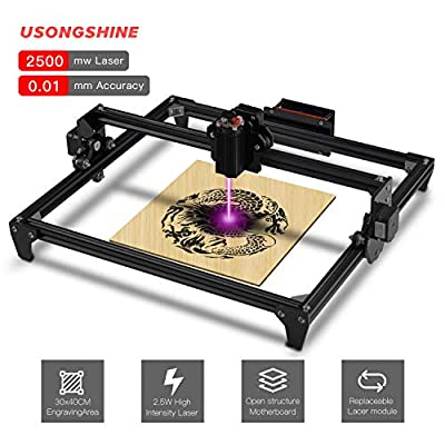 CNC Laser Engraving Machine DIY Engraver Desktop Wood Router/Cutter/Printer + Laser Goggles Working Area 300x400mm 2 Axis (2500MW)