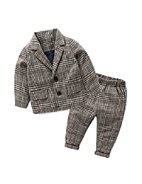 SPRMAG Baby Boy England Style Plaid Suits Sets Wool Blazer Pants Outfits