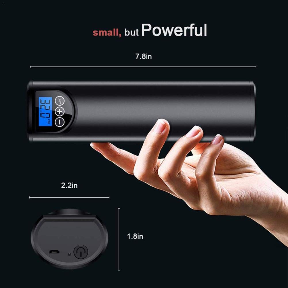 Kindlyperson Compresseur dair de Pompe de Pneu de Voiture Portable LCD num/érique Affichage 150PSI 2000mAh Batterie Rechargeable au Lithium pour Balles de v/élo de Voiture Natation Anneaux Jouets